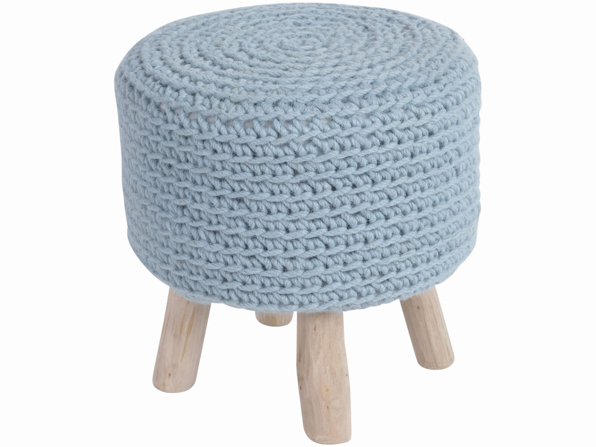 Outstanding Coastal Blue Wool And Wood Stool Pdpeps Interior Chair Design Pdpepsorg