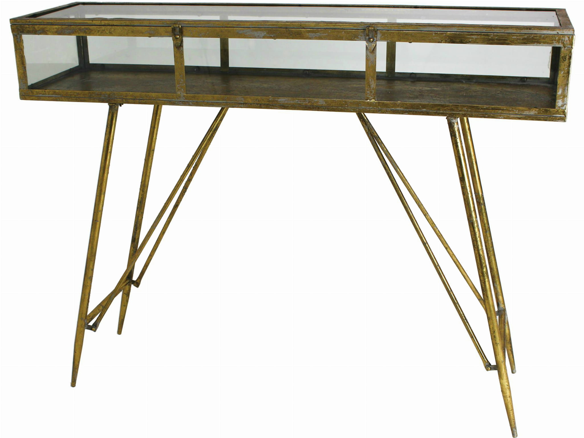 Picture of: Savile Antique Gold Console Table With Glass Top K B London